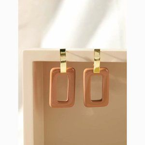 Hollow Acrylic Rectangle Drop Statement Earrings